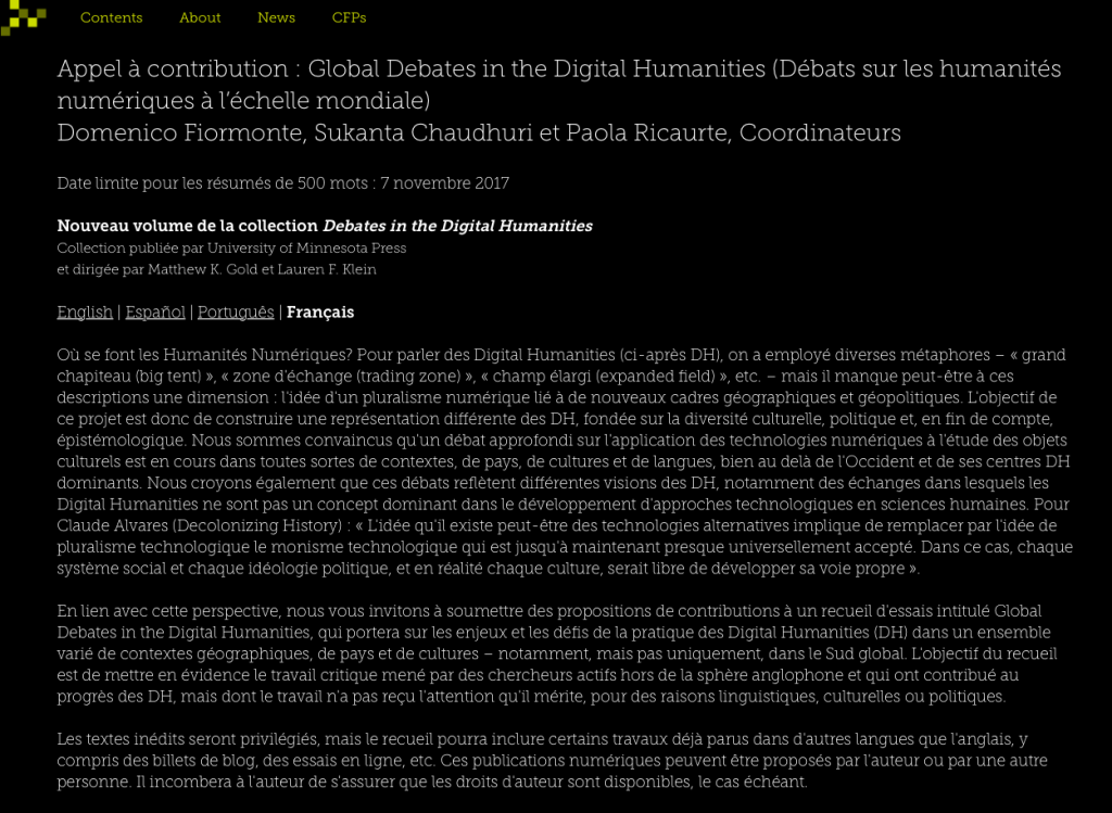 Global Debates in the Digital Humanities : appel à contribution